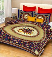 Hand Print 100% 200 TC Cotton King Size Bed Sheet with 2 Pillow Covers