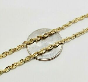 """Real 10K Yellow Gold 2mm - 6mm Diamond Cut Rope Chain Necklace Bracelet 16""""- 30"""""""