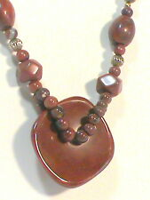 Brown Stone Pendant Bead Necklace
