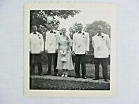Vintage Black & White Snapshot Men Tuxedo Woman Dress Wedding B&W Photograph