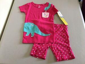 New Carter's Girls Dinosaur Pajama 2pc Set Snug fit Shortie Pink