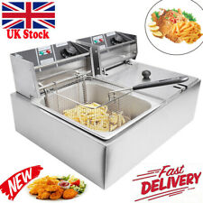 More details for 20l commercial electric deep fryer fat chip twin dual tank stainless steel 5000w
