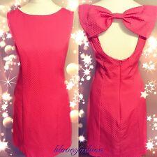Miss Selfridge Coral Pink Bow Shift Vestido Glamour UK 14 EU 42 nos 10 Nuevo + Etiquetas 🎀