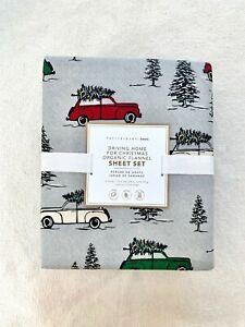 Pottery barn Teen Driving Home For Christmas Organic Flannel Sheet set Twin XL