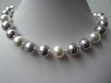 Design MUSCHELKERNPERLENKETTE Perlenkette tricolor 12 mm Kette Collier *6480