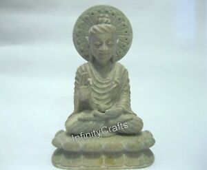 9 Inch Marble Lord Buddha Statue with Hand Carved Buddha Perfect for Office Gift