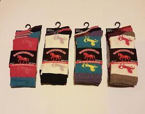 Ladies 3 PAIRS HORSE DESIGN SOCKS PINK WHITE PINK COTTON SHORT SOCKS ANIMAL