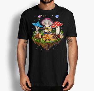 Hippie Mushrooms Camping Psychedelic Forest Fungi Festival T-Shirt, Funny Shirt