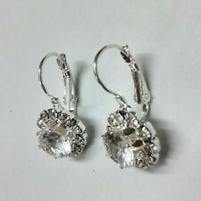 White Fine Jewelry Big Natural Zircon Rhinestone Silver Plated 1Pairs  Earrings