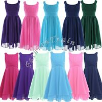 Fashion Chiffon Girls Kids Pageant Dress Formal Dance Party Prom Dress Size 4-14