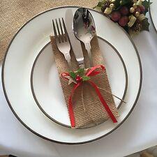 Christmas Table Decoration Eve 24 x Cutlery Holder Pocket Hessian Rustic  Burlap