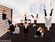 Folk Art/ Print/Poster/Yoga/Exercise Class/17x22 inch