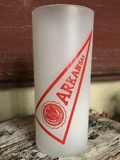 University Of ARKANSAS Razorbacks VINTAGE Antique Frosted Drinking GLASS College