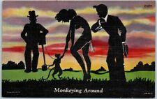 "Vintage Curteich SILHOUETTE COMICS Linen Postcard ""Monkeying Around"" 6B-H727"