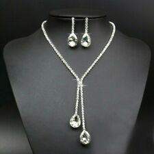 Crystal Rhinestone Silver Plated Sparkling Bridesmaid Necklace And Earring Set