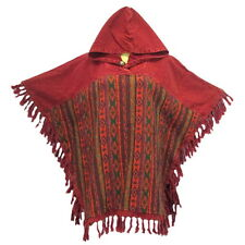 Peasant Boho Hand Woven Cotton Hooded Maxican Poncho/Sweater with Fringe YX735