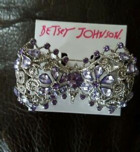 Betsey Johnson Silver Openwork Removable Pin Purple Stone Bow