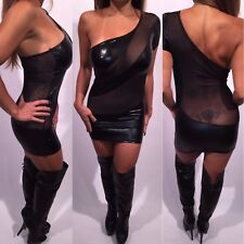 Connie's Stretch Black One Shoulder Club Dress With See thru Mesh OS or One Size