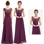 Ever-Pretty Long Evening Dress Purple Cap Sleeve Formal Cocktail Prom Gown 08550