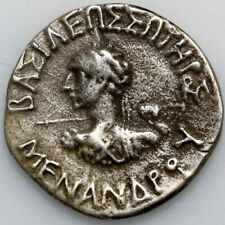 INDO GREEK COIN SILVER DRACHM MENANDER I 160-130 BCE