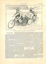Paris Vélodrome du Parc des Princes Michaël en Tandem Entraineurs GRAVURE 1901