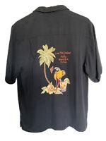 Luau 100% Silk Embroidered Camp Shirt Golf Tails Short Sleeve Men's M button up