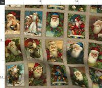 Vintage Retro Holiday Christmas Santa Panel Spoonflower Fabric by the Yard