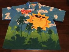 HAWAIIAN TROPIC SHORT SLEEVE BUTTON UP SURF CAMP SHIRT ( MEN'S LARGE ) PREOWNED