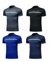 New Under Armour Golf Polo Chest Stripe Grey Black Navy Royal (Fitted)