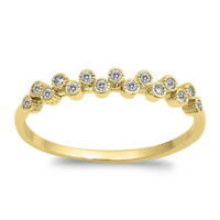 Gold-Tone Clear CZ Stackable Accent Ring New 925 Sterling Silver Band Sizes 4-10