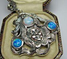 Solido 925 Argento Vintage Art Nouveau Stile Lady Gilson ciondolo opale di fuoco