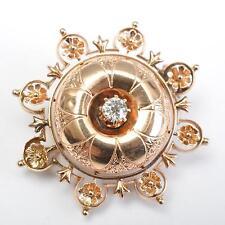 Brosche oder Anhänger, 14 Karat Roségold, Diamant, aufwändige Handarbeit um 1900