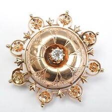Diamond, Elaborate Handmade um 1900 Brooch or Pendant, 14 Carat Roségold,