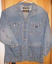 Vintage LUCKY BRAND Long Workwear Distressed Denim Jacket w Lapels, Large