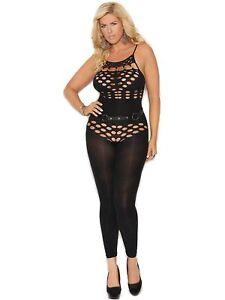Womens Plus Size Opaque Halter Teddy Detail Bodystocking Bodysuit Lingerie