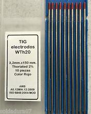 10 Electrodos Tungsteno Soldadura TIG 3,2 x 150 mm ROJO Soldador TH2 - CALIDAD