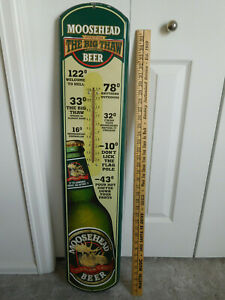 """MOOSEHEAD BEER Large long tin advertising THERMOMETER clever sayings 39""""x8"""" SIGN"""