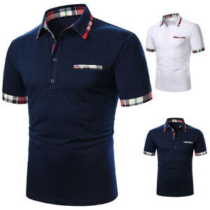 ❤️Mens Summer Short Sleeve T-Shirt Tops Casual Collar Button Slim Fit Blouse Tee