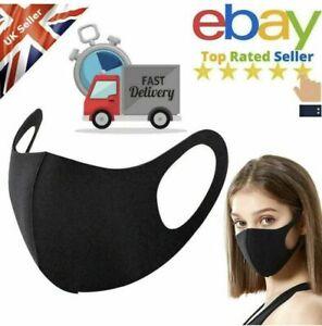 10 X Face Mask Protective Covering Washable Reusable Black Adult Unisex UK