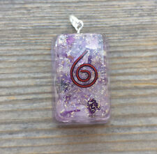 ORGONE AMETHYST GEMSTONE RECTANGLE PENDANT ORGONITE (ONE)