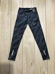 New Mens Nike Power Tech Printed Full Length Running Tights, Size Small