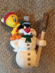 ⭐️Vintage Christmas Ornaments Tweety Bird & Sylvester Snowman Warner Bro. 1995