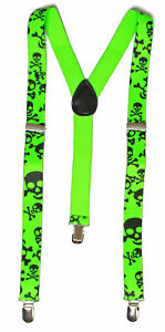 Giant Skull 3 Clip Stretchable Suspenders 2 pack- Yellow