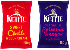 Kettle Chips Crisps Sweets Chilli Or Salt & Vinegar 10 x 150g Bags OUT OF DATE