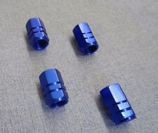 BMW X5 BLUE METAL DUST VALVE CAPS TYRE WHEEL ALUMINIUM SOLID HEXAGON COVER 4PCS