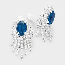 """1.50"""" silver blue crystal clip on earrings non pierced bridal prom 77"""