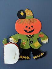 "Vintage Hallmark Miniature Pumpkin Scarecrow Honeycomb Halloween Decoration 4"""