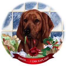 Redbone Coonhound Dog Porcelain Ornament Pet Gift 'Santa. I Can Explain!