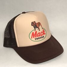 Mack Trucks Trucker Hat Brown Bulldog  Logo! Vintage Style Snapback Cap