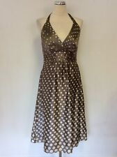 MONSOON MINK & WHITE SPOT SILK HALTERNECK SPECIAL OCCASION DRESS SIZE 10